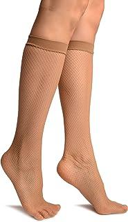 Beige Fishnet Knee High Socks - Socks - Beige Calcetines Talla unica (37-42)