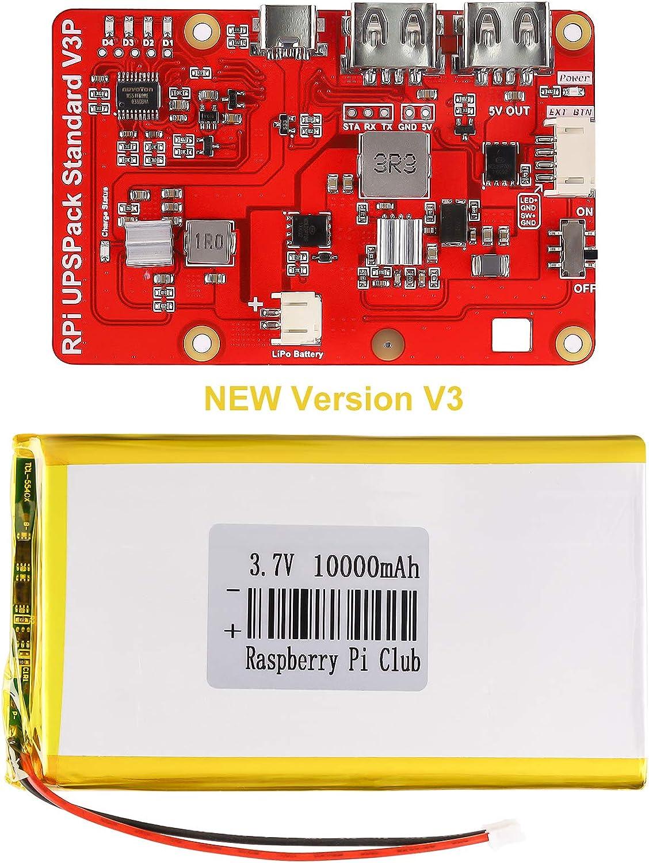 Raspberry Pi 4 Battery Pack UPS, RPI Pack Standard 10000mAh Raspberry Pi Battery USB Battery Pack Raspberry Pi Latest Version V3 Expansion Board Power Supply Type-C for Raspberry 4B 3B+ 3B 2B+