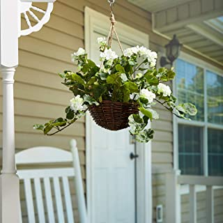 Pure Garden Faux Flowers – White Geranium Hanging Natural and Lifelike Floral Arrangement with Basket for Home or Office