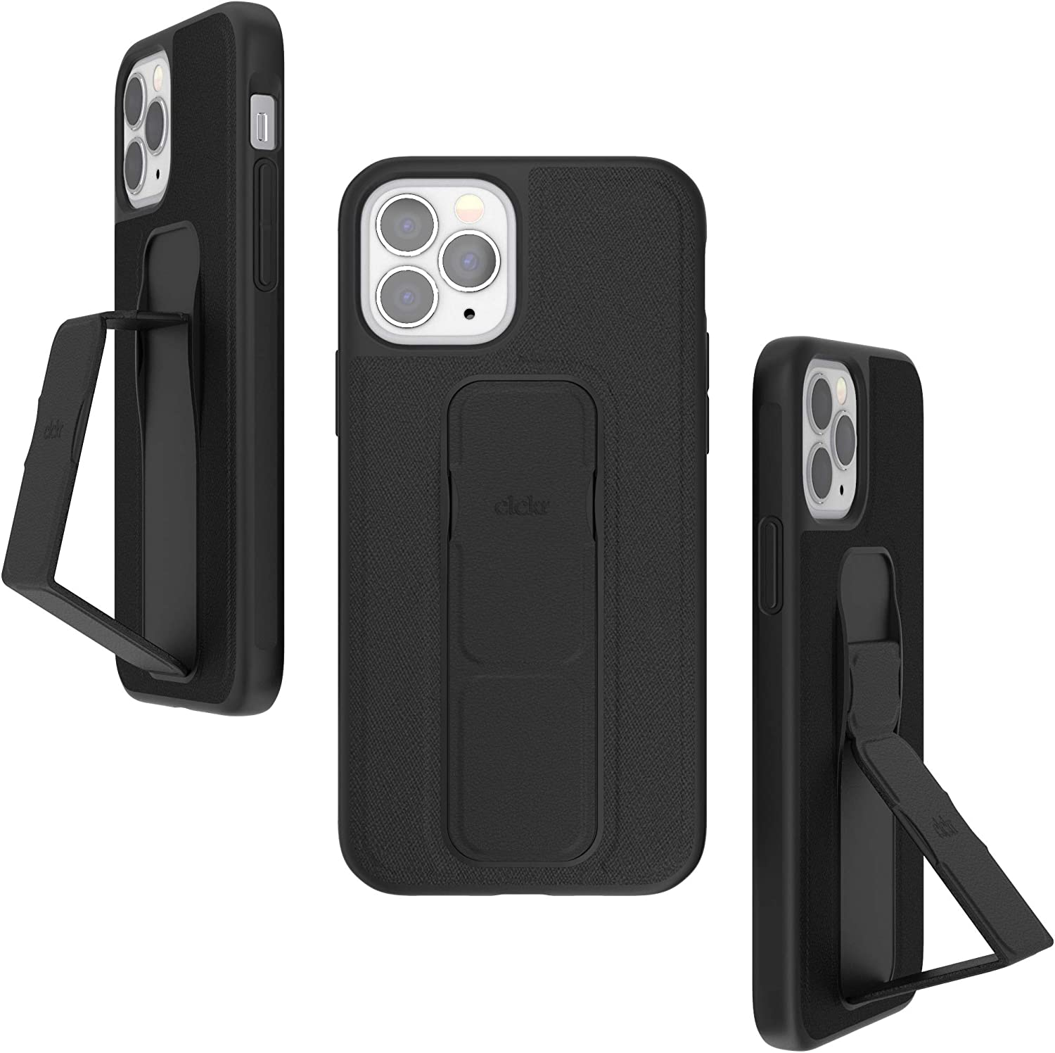 CLCKR Compatible with iPhone 12, iPhone 12 Pro Case with Kickstand, Phone Grip and Expanding Stand, Cell Phone Cover with Grip Holder, Saffiano Black