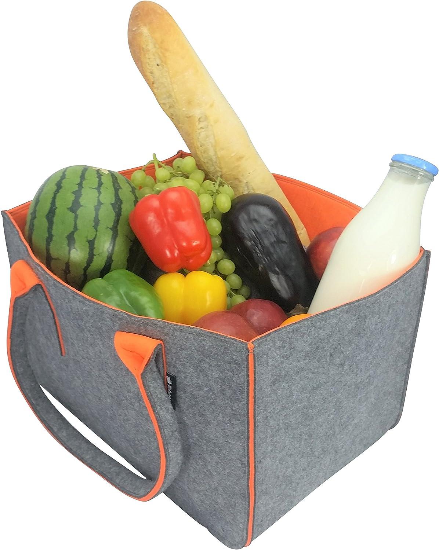 grand sac /à provisions avec anse gris fonc/é//orange Sac /à shopping en feutre panier /à provisions pliable pour le stockage du bois sac de transport polyvalent /également pour ranger les jouets