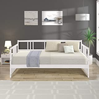 Harper&Bright Designs Modern Solid Wood Daybed, Multifunctional, Twin Size (White)