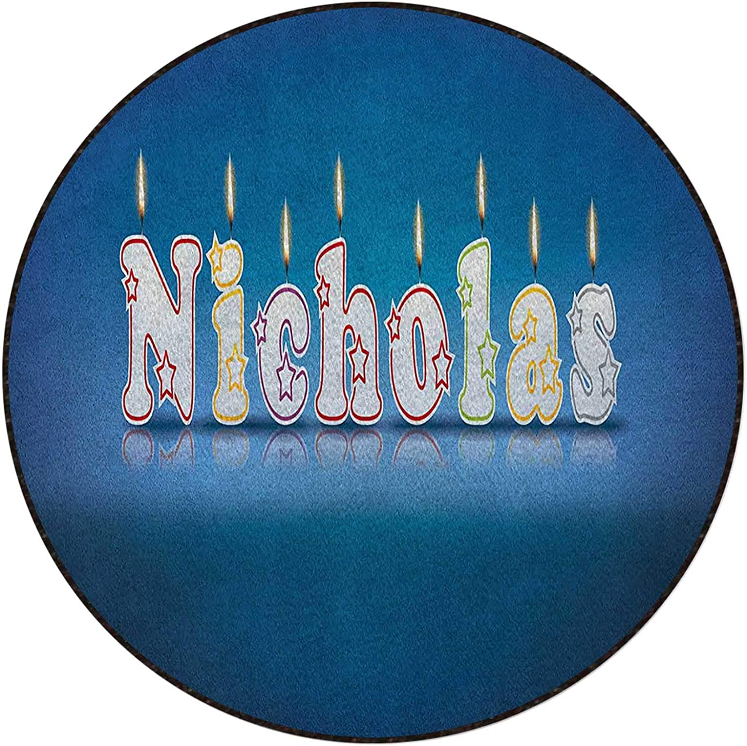 Blue and Multicolor Round Area Cheap NEW mail order shopping Rug Pr Floor Nicholas Office Home