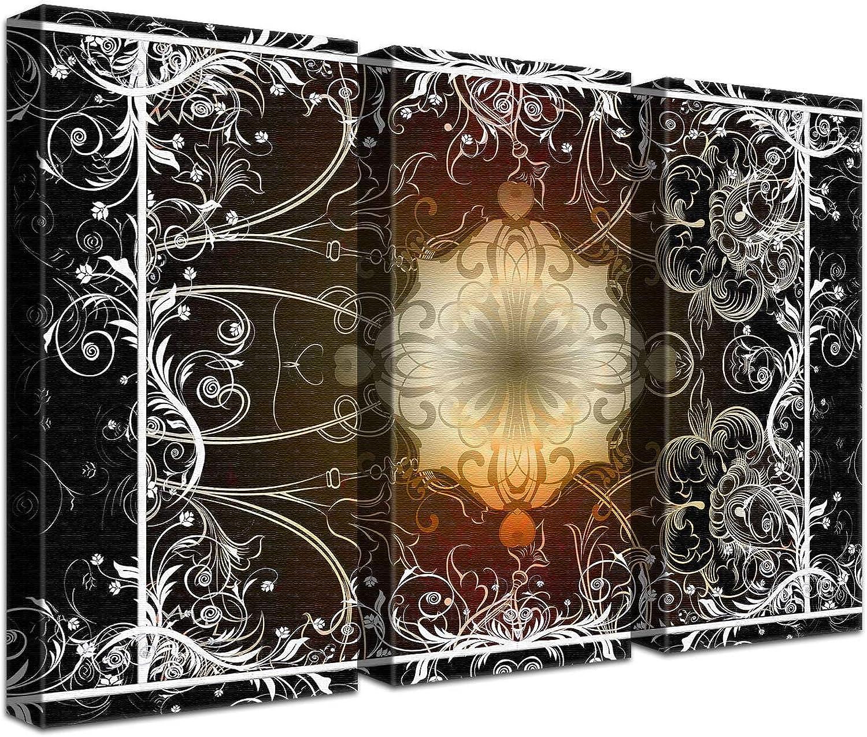 LANA KK Luxus Ausführung Leinwandbild Akzent Dark    Abstraktes Design auf 4cm Echtholz, dreiteilig, Schwarz, 150 x 100 cm B074QRNPQV | Nutzen Sie Materialien voll aus  8e3a0b