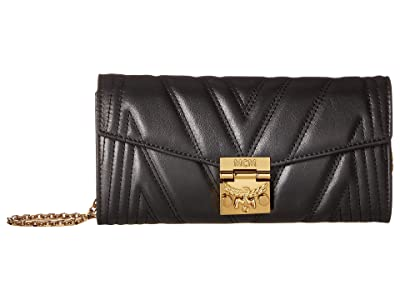 MCM Patricia Quilted Flap Wallet/Bifold Large on a Chain (Black) Handbags