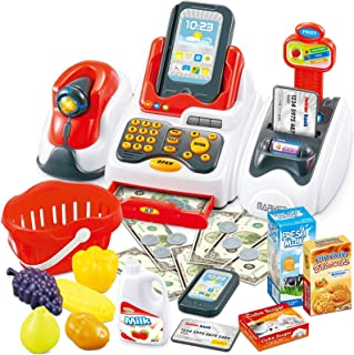 Cash Register Toys for Kids, Toy Grocery Store with Checkout Scanner,Fruit Card Reader, Credit Card Machine, Play Food &Mo...