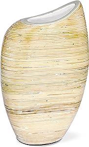 Moycor 50088 Jarrón, Cerámica, Beige y Blanco, 19x19x30 cm