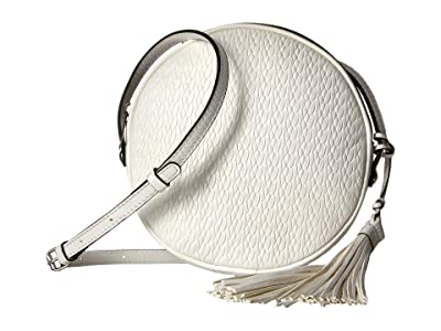 Patricia Nash Twisted Woven Embossed Scafati Canteen Crossbody (White) Cross Body Handbags