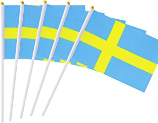 """Hand Held Sweden Flag Swedish Flag Stick Flag Mini Flag 50 Pack Round Top National Country Flags, Party Decorations Supplies For Parades,World Cup,Sports Events,International Festival (8.2 """"x 5.5"""")"""