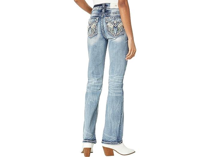 Miss Me Angel Wing Chloe Boot Cut Jeans in Medium Blue