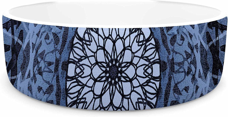 KESS InHouse Nina May TieDye Mandala Jain bluee bluee White Watercolor Pet Bowl, 7  Diameter