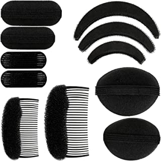 11 Pieces Women Sponge Volume Bump Inserts Hair Bases Hair Styling Tools Hair Bump Up Combs Clips Black Sponge Hair Accessories for Women DIY Hairstyles (Black)
