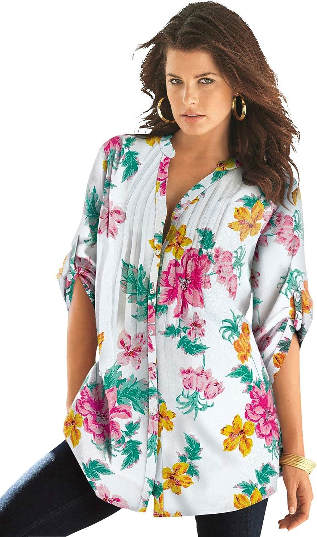 Roaman's Women's Plus Size English Floral Big Shirt Button Down Tunic Shirt Blouse