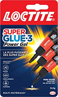 Loctite Super Glue-3 Power Gel Mini dose, colle forte enrichie en caoutchouc, mini-dose de colle gel ultra-résistante, séc...