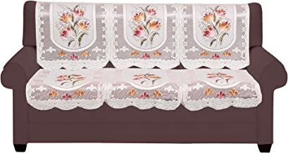 FAB NATION Elegant Floral 2 Seater with Arm Covers in Net Polyster Fabric in Excluive Rose Design