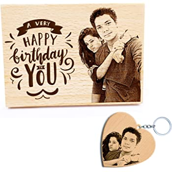GFTBX Birthday Gifts Combo - Personalised Engraved Wooden Photo Plaque and Heart Shaped Personalized Wood Photo Keychain | Gifts for Girls for Birthday (Beige, 13x9.5cm, Keychain-5cm)