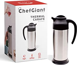 ChefGiant 24oz Thermal Carafe Hot-Cold for Coffee or Tea/Premium Double wall Stainless Steel Thermos/Holds Heat Up To 10 Hours Personal Carafe
