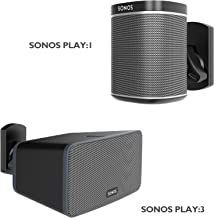1home Speaker Wall Mount Bracket for SONOS Play:1 and Play:3 Pivot Tilt Swivel Black