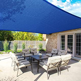 MOVTOTOP Sun Shade Sails 10x13 FT Rectangle, 185 GSM Thicker Outdoor Shade Block 95% UV Keep Cool for Deck, Patio, Pergola, Backyard Outdoor(Blue)