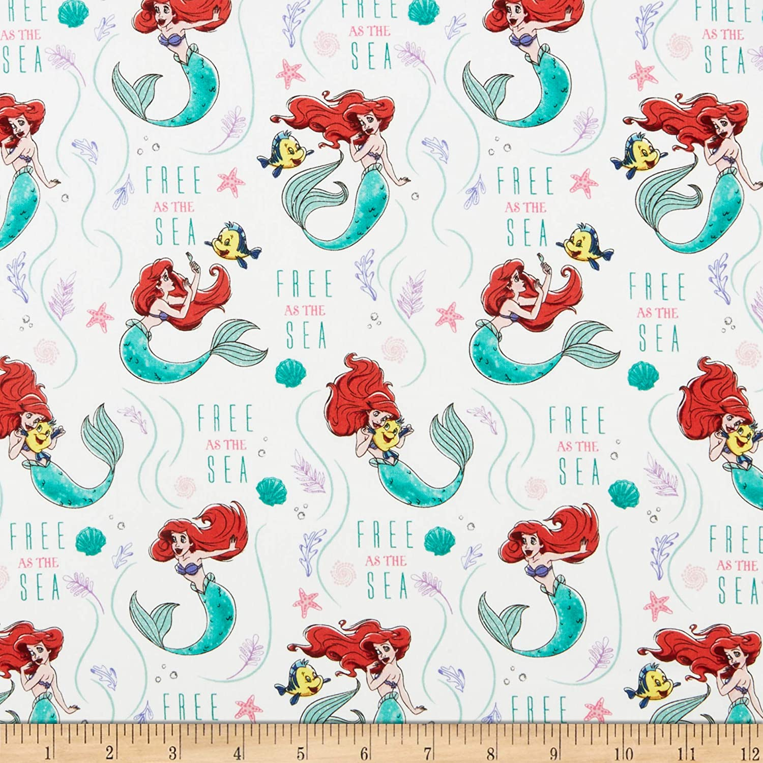 Disney Princess Ariel Free As The White Quilting store Sea by Fabric Excellence