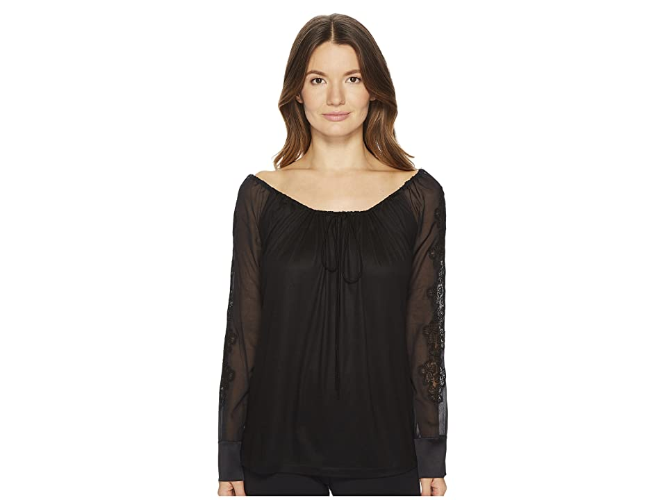 La Perla English Rose In Out Shirt (Black) Women