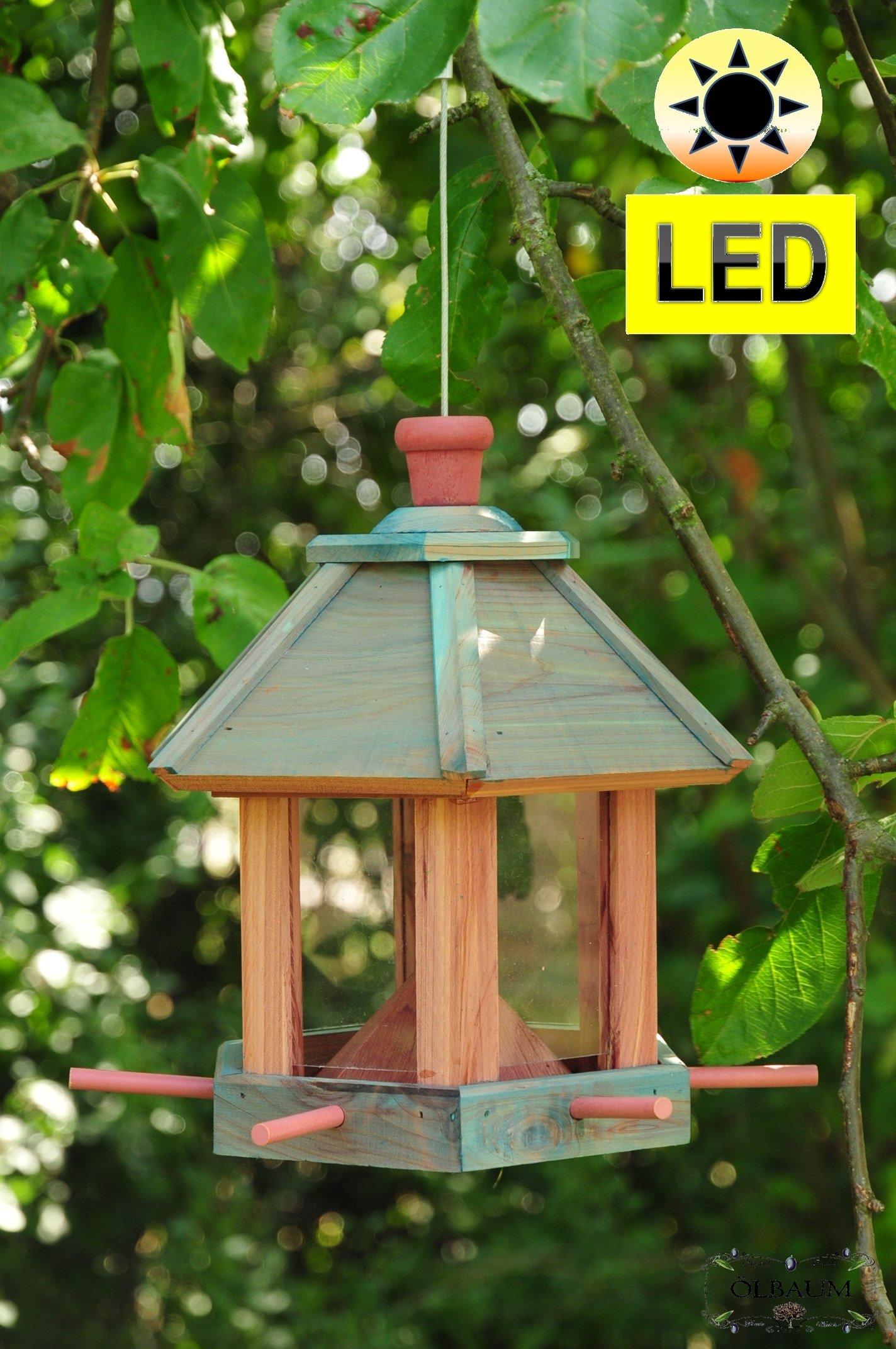 Madera-pajarera, Futterhaus-Futterstation, con iluminación jardín -, LED-luz/pajarera, Futterhaus-Futterstation, con iluminación jardín, nido SKY Blue (azul claro), Bel-azul resistente, estable, Premium pájaro casa, Futterhaus-Futterstation, con ...