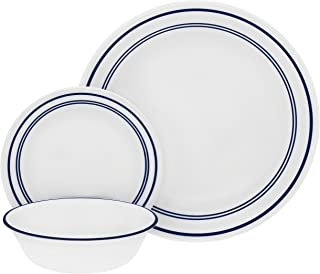 Corelle 18-Piece Service for 6, Chip Resistant, Classic Café Blue Dinnerware Set,