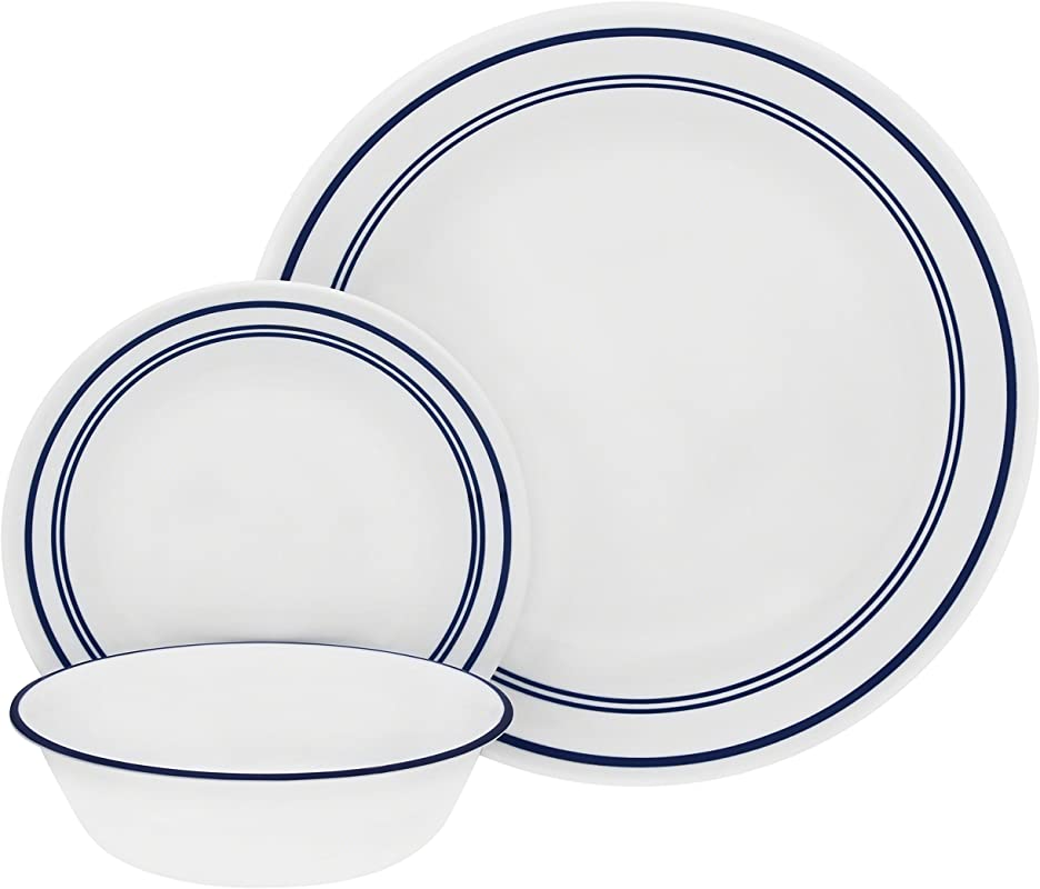 Corelle 18 Piece Service For 6 Chip Resistant Classic Caf Blue Dinnerware Set