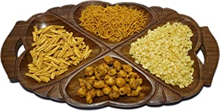 DECORVAIZ Serving Snacks, Dry Fruits Handcrafted Wooden Tray Cum Platter - 4 Compartments