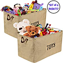 Woffit Set of 2 Toy Storage Organizer Baskets for Nursery, Playroom, Kids & Living Room, Etc, Extra Large Sturdy and Collapsible Tote Bins for Children & Dog Toys Great Chest Box for Boys & Girls