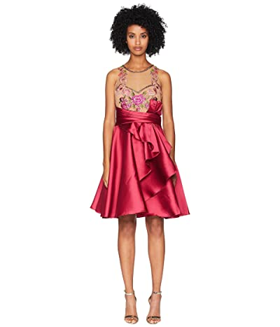 Marchesa Notte Sleeveless Draped A-Line Mikado Cocktail with Embroidered Bodice (Fuchsia) Women