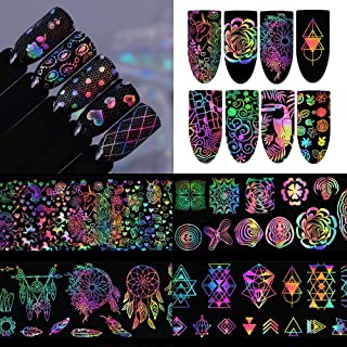 8 Sheets/Patterns Holographic Charming Nail Art Foils Transfer Stickers Unicorn Dream Catcher Nail Decals DIY Manicure