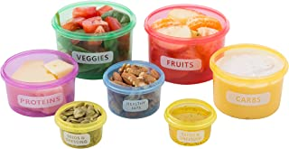 7 Piece Portion Control Container Set Multi-Colored Perfect sized Food Storage Boxes with Leak proof Lids for Diet Meal Preparation By Kitchen Winners