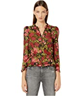 The Kooples - Button Down, Basque Top with Ruffles along Neckline in a Painted Roses Print