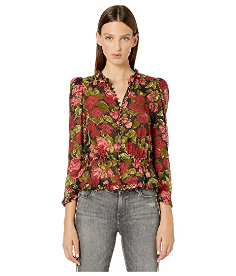 The Kooples Button Down, Basque Top with Ruffles along Neckline in a Painted Roses Print