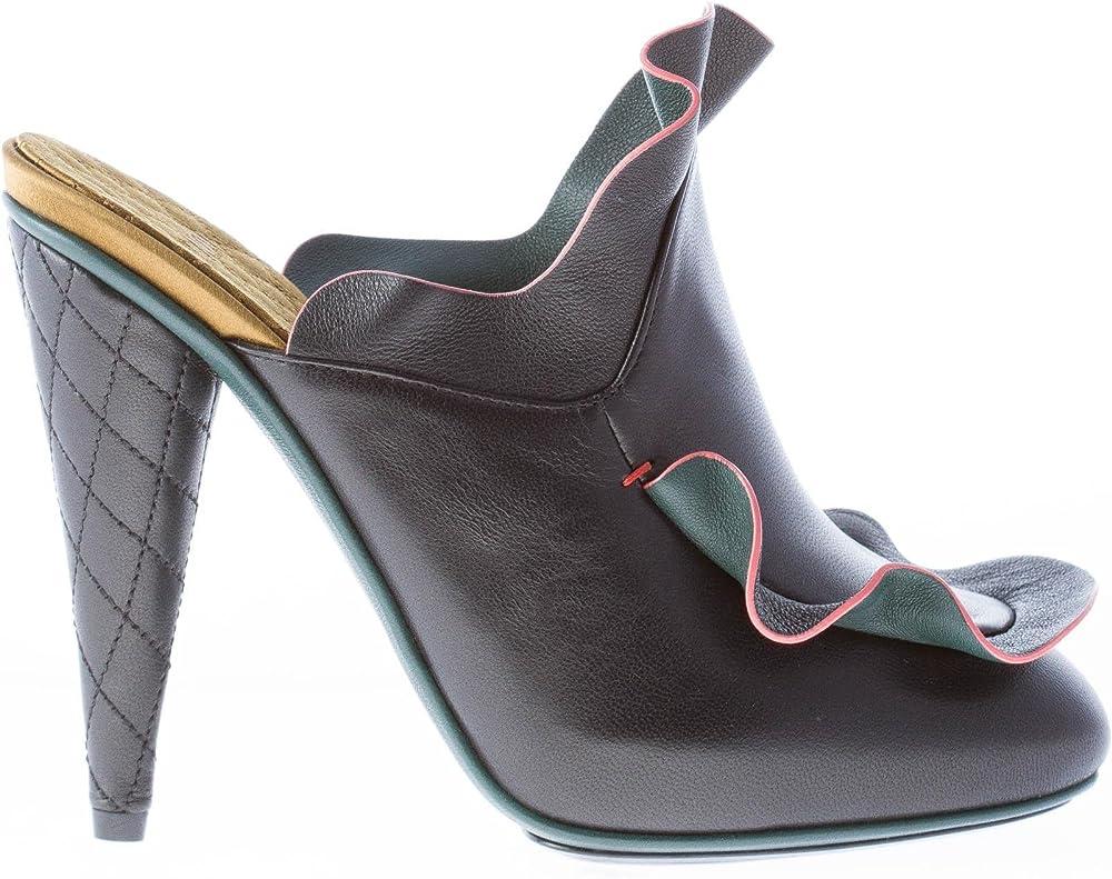 Fendi, scarpe sabot da donna, in pelle nera con rouches, tacco 11 cm 8R630882EF04H4