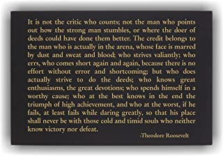 Lazer Designs Theodore Roosevelt Man in The Arena Wall Art Plaque Inspirational Quote Black & Gold