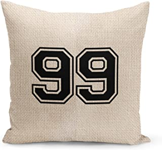 Number 99 Beige Linen Pillow with Black Foil Print College Jersey Ninety Nine Couch Pillows