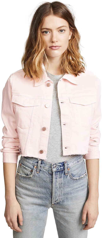 DL1961 Womens Shawn Denim Spring Cropped Jacket Pink L