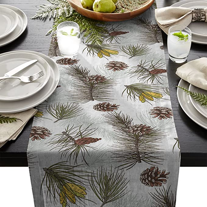 Cotton Linen Burlap Table Runner Tropical Pine Cone Tree For Wedding Party Holiday Dinner Home Decor Triangle 1472inch Kitchen Dining
