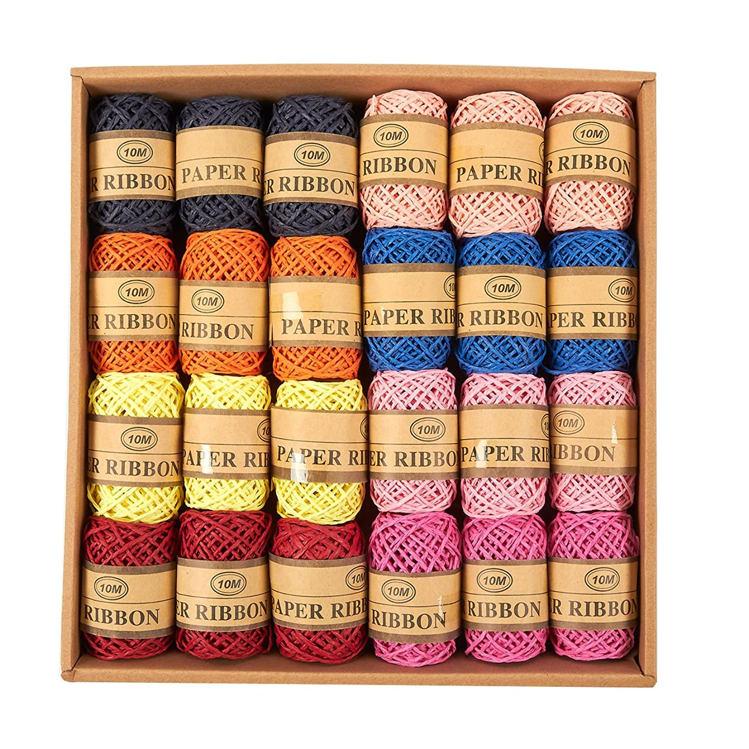 Raffia Ribbon - 24-Pack Paper Ribbon, Natural Raffia Twine String Ribbon for Craft, Packing, Wrapping Gifts, 8 Colors, 11-Yard Each