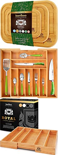 Rounded Cutting Board Set of 3 Expandable Drawer Organizer and Basic Silverware Drawer Organizer