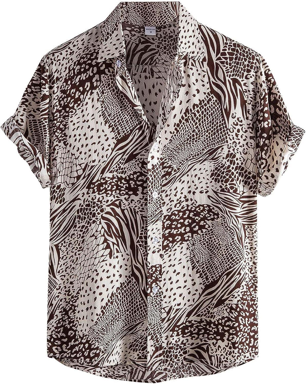 LEIYAN Mens Casual Button-Down Shirts Summer Short Sleeve Stylish Loose Hawaiian Printed Aloha Beach Henley Shirts