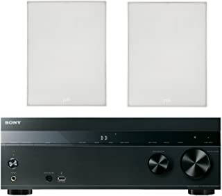 """Sony 5.2-Channel 725-Watt 4K A/V Home Theater Receiver + Polk 8"""" 2 Way High-Performance Natural Surround Sound in-Wall Speaker System (Pair)"""