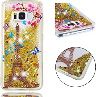 Glitter Case for Samsung Galaxy S8,QFFUN Bling Floating Liquid Quicksand Soft Clear Slim Fit Silicone Case with Screen Protector Shockproof Transparent Protective Cover Bumper - Butterfly Tower