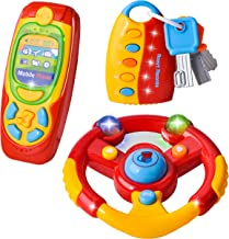 JOYIN 3 Pcs Toddler Driving Steering Wheel Toy, Car Keys and Pretend Play Toy Cellphone with Music for Kids Boys, and Girls