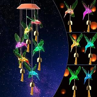 red Green Hummingbird Bell Solar Wind Chimes Bell Wind Chimes Outdoor Gifts for mom Hummingbird Gift Solar Wind Chimes Out...