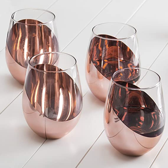 MyGift Modern Copper Stemless Wine Glasses