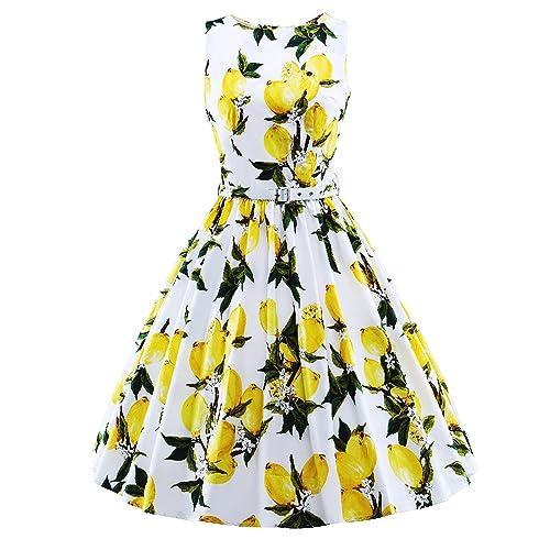 98c989001c26ff HongyuTing Classic 50s Audrey Hepburn Boat Neck Lemon Printed Summer Swing  Retro Vintage Dress