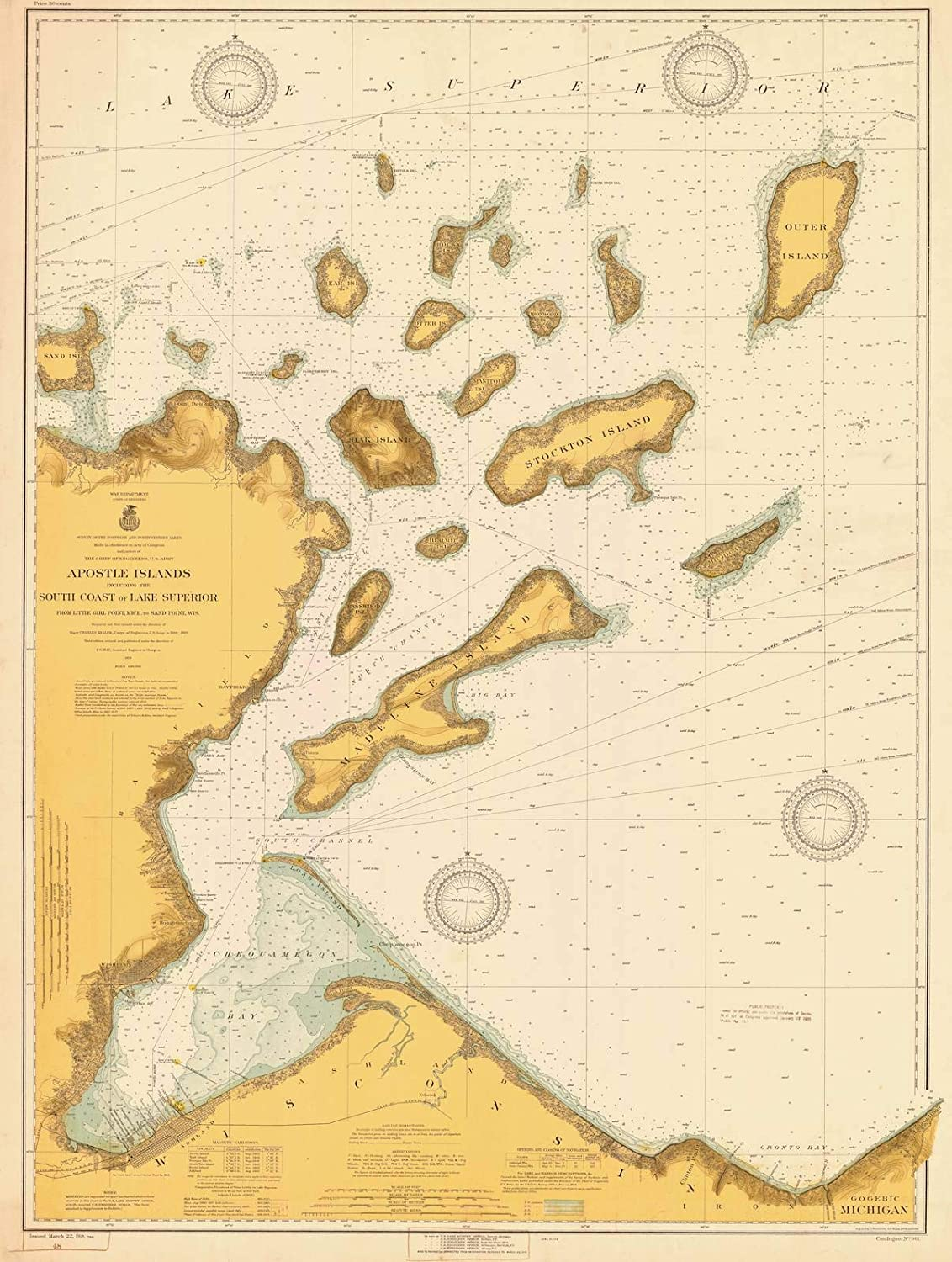 Historic Pictoric Map - Apostle Coas Islands The Including High material Indianapolis Mall South